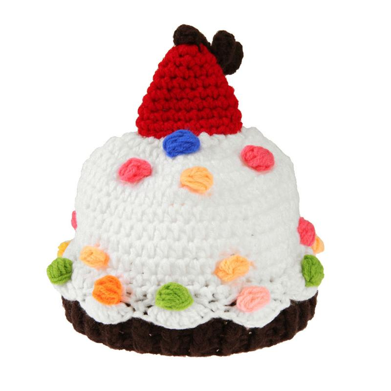 Crochet Knit Newborn Baby Hat Cap Colorful Cake Pattern Lovely Newborn Baby Beanies Cap Photography Props Hat Accessories