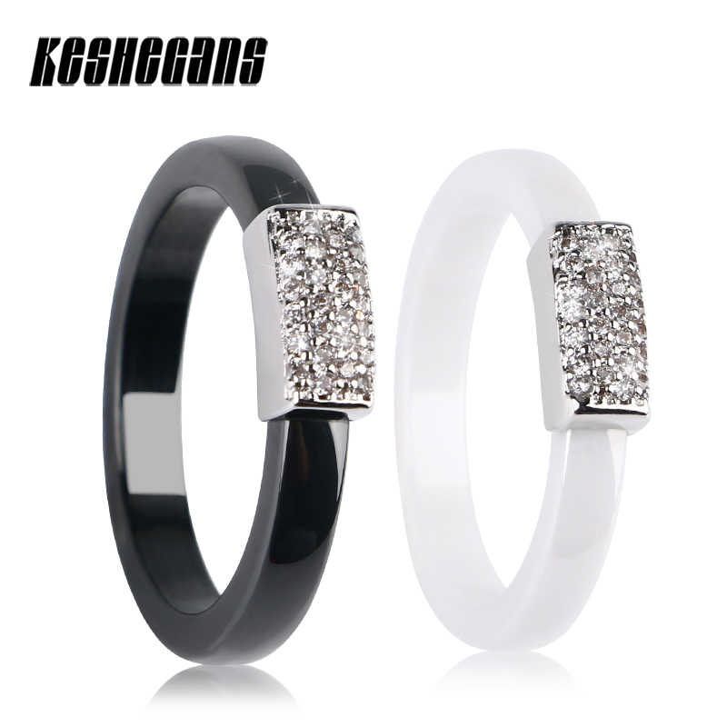 2018 New 3mm Black White Ceramic Ring for Women Bling CZ Stones Silver Elegant Temperament Wedding Band Female Jewelry For Lover
