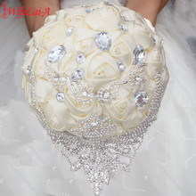 WifeLai-A New luxurious Diamond Brooch Bridal Bouquets ,Ivory Satin Wedding Flowers with Silver Rhinestone,Accept Custom W289