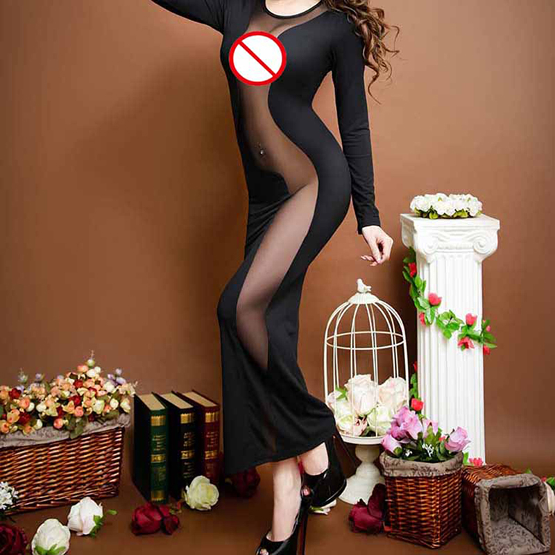 Women Black Club Long Dress Fashion See Through Sexy Lingerie Long Sleeve Round Neck Sexy Bodycon Women Dresses Mesh Wear