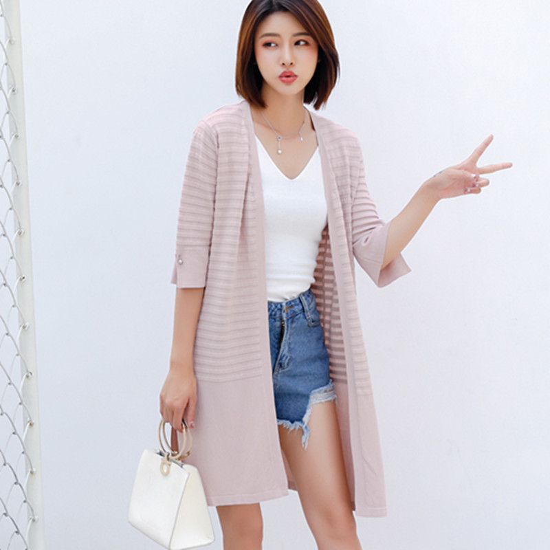 New linen thin sun protection clothing solid color silk long cardigan v collar air conditioning five points trumpet sleeve
