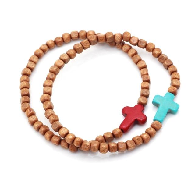 US $2.1 |4 MM Cube Brown Holz Perlen mit Türkisen Verkrustete Stein Seitlich Kreuz Böhmischen Schmuck Stretch männer Armband in 4 MM Cube Brown Holz