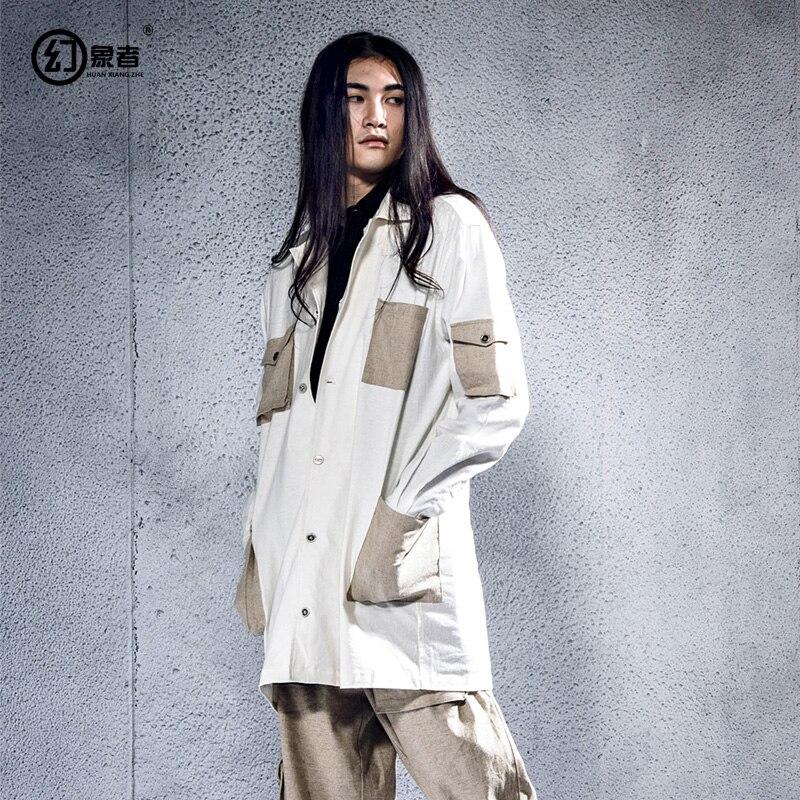 Оригинальный дизайн персонализированные народном стиле раза из мятого мужские свободные мешкозашивочные v образным вырезом рубашки в Азии