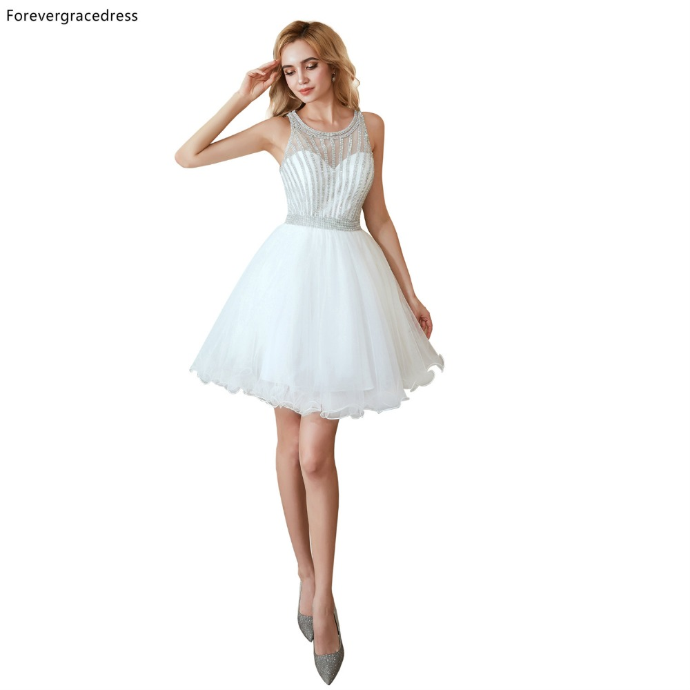 Forevergracedress White Fit Short   Cocktail     Dresses   A Line Tulle Sleeveless Girls Party Gowns Plus Size Custom Made