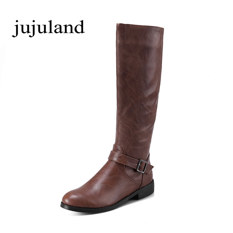 Winter Women Shoes Mid-Calf Boots Riding Equestrian Boots Round Toe Big Size Low Square Heels Zip Zipper Buckle Short Plush riding boots chunky heels platform faux pu leather round toe mid calf boots fashion cross straps 2017 new hot woman shoes