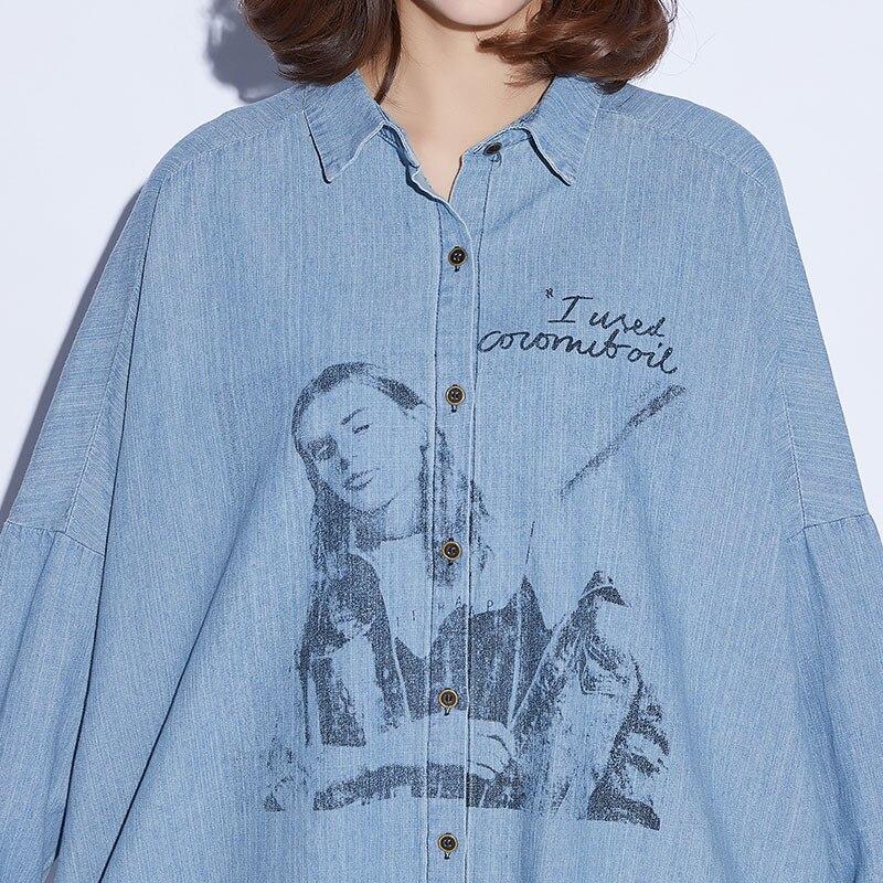 Dames Plus Tunique Big Grande Blusa Bleu Top Lâche 5xl Manches Femme Denim Tee Longues Casual Chemise Jeans Oladivi Blouses La Femmes Taille 4q4wUx