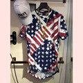 2016 justin bieber style EE.UU. bandera de hip hop T-shirt de moda cool agujeros Huecos cremallera lateral de Oro para hombre camisetas botín hba ropa
