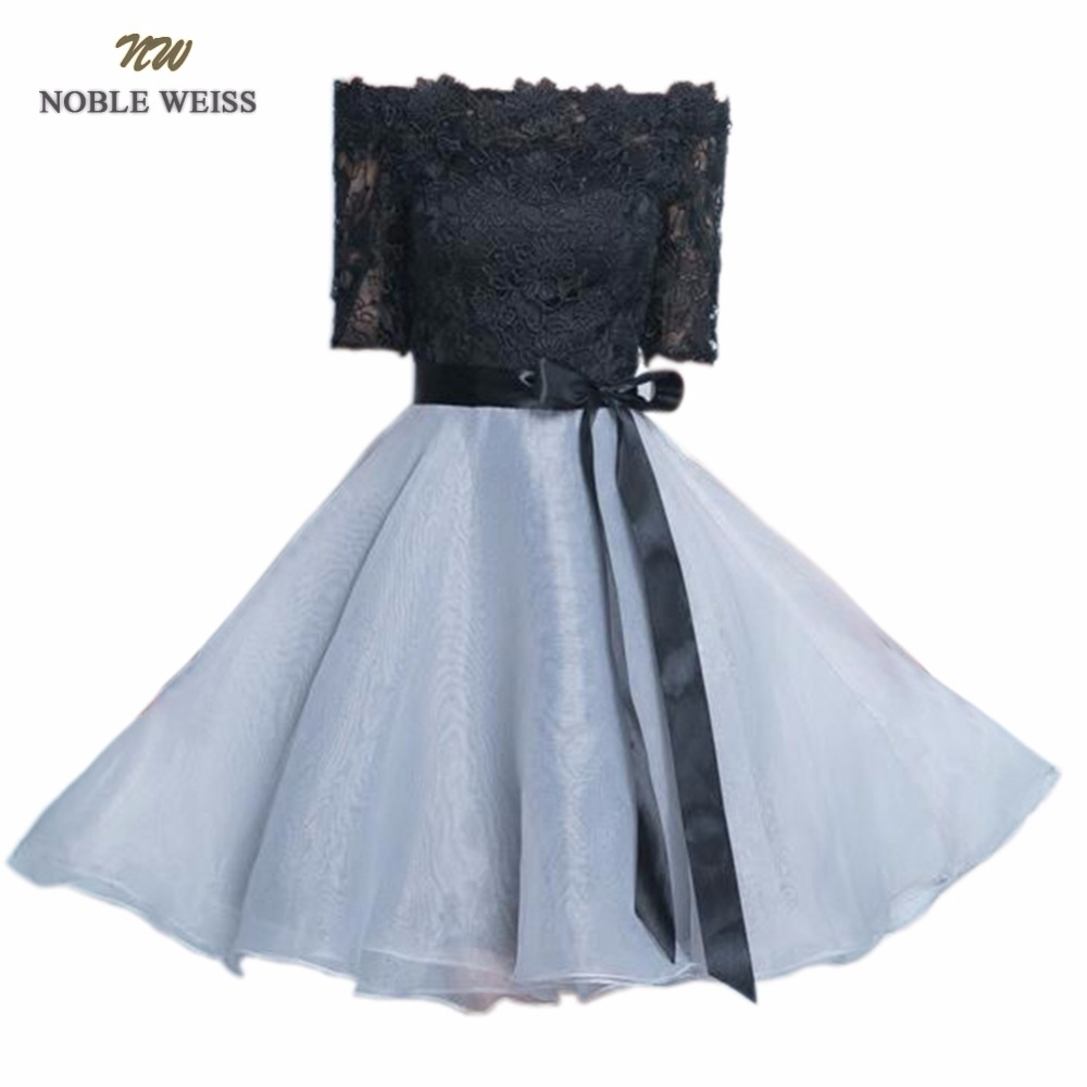 NOBLE WEISS Black Lace Prom Dress Customized Fashion Boat Neck Organza Party Gown Dresses With Half Sleeves