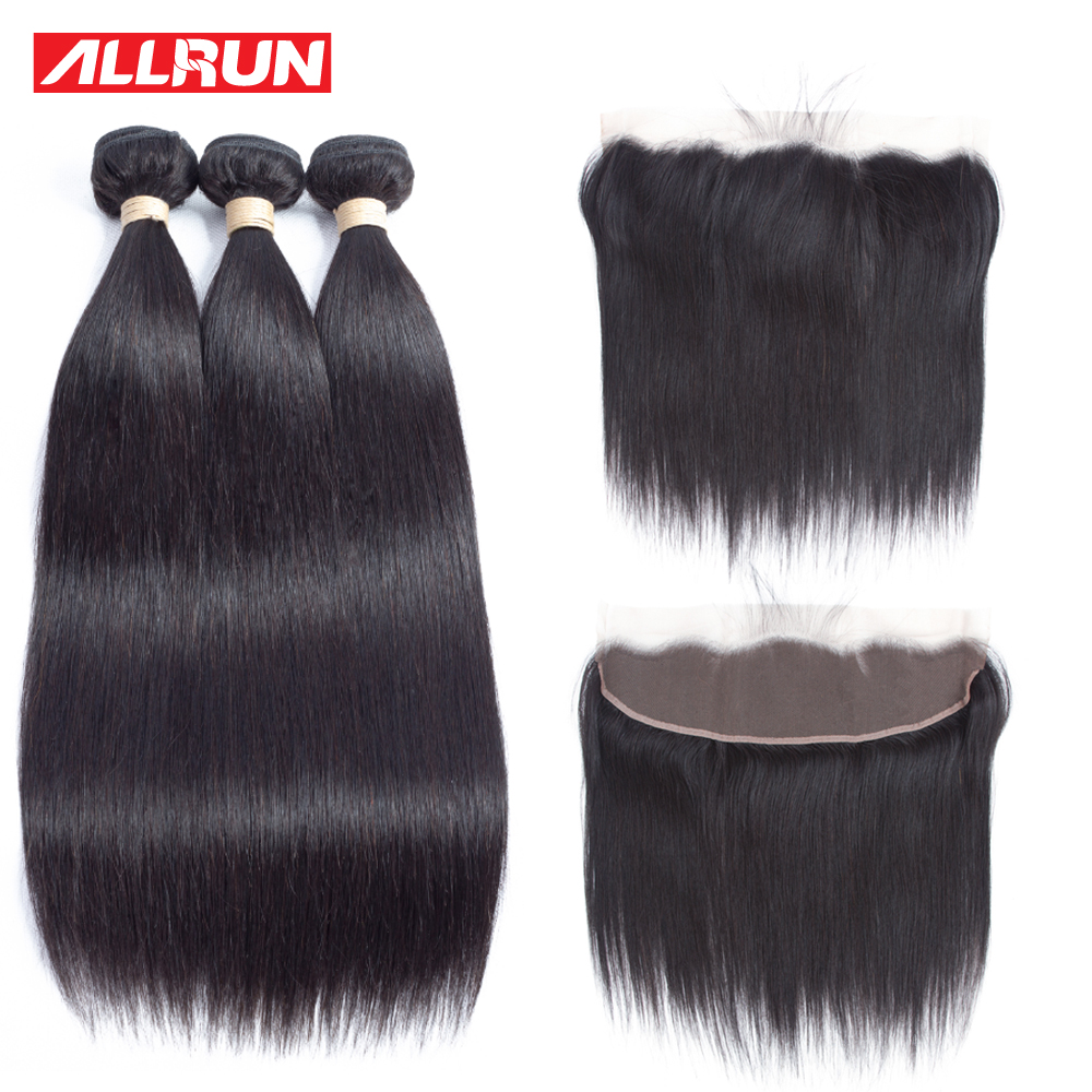Allrun 3 Bundles Brazilian Straight Human hair With 13*4 Lace Frontal Closure Non Remy Free Shipping 4 Pcs/lot Hair Extension