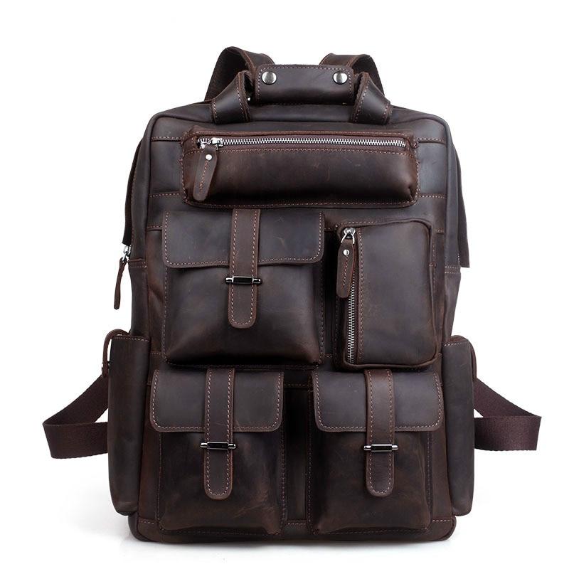 Для мужчин рюкзак мужской Англия Стиль Дизайнер Высокое качество из натуральной кожи рюкзак Для мужчин дорожные сумки рюкзак большой