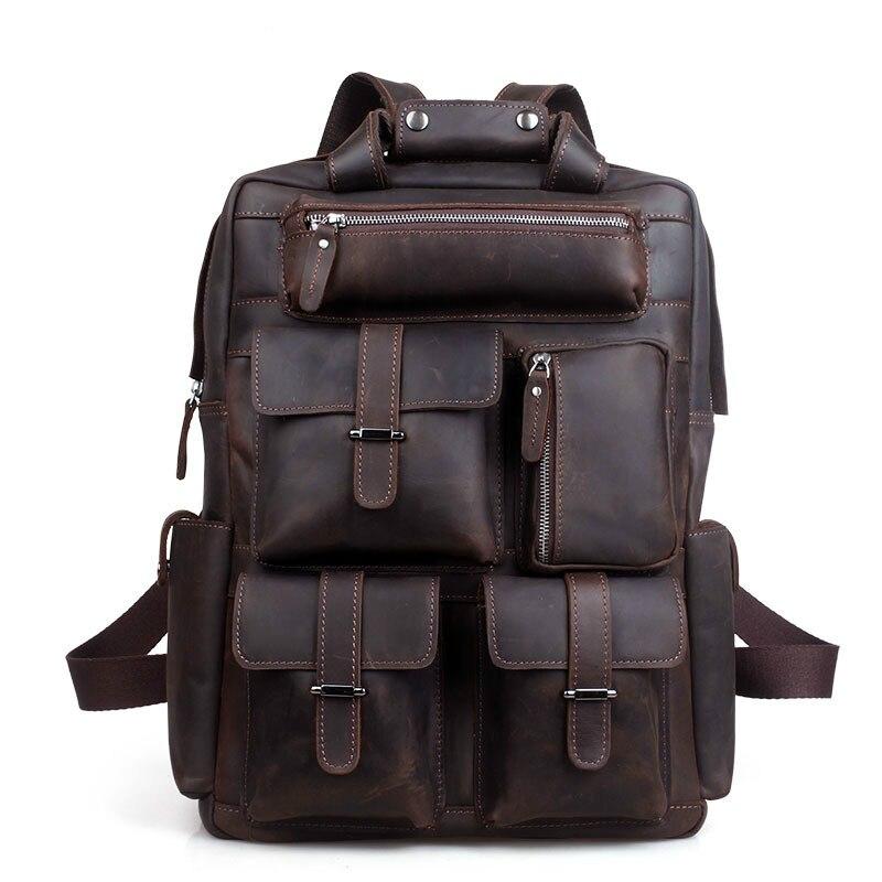 Hommes sac à dos homme angleterre Style Designer de haute qualité en cuir véritable sac à dos hommes voyage sac à dos sacs grand