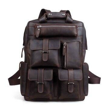 Männer Rucksack Männlichen England Stil Designer Hohe Qualität Echtes Leder Rucksack Männer Reisen Rucksack Taschen Große
