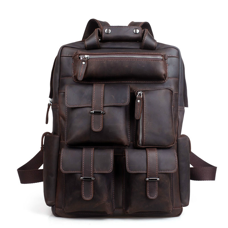 Men Backpack Male England Style Designer High Quality Genuine Leather Backpack Men Travel Backpack Bags Big