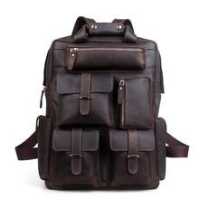 Мужской рюкзак в английском стиле, дизайнерский рюкзак высокого качества из натуральной кожи, мужской рюкзак для путешествий, большие сумки