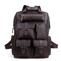 Men Backpack Male England Style Designer High Quality Genuine Leather Backpack Men Travel Backpack Bags Big