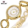 2016 Belbi Nueva Aleación de la Manera de Las Mujeres Señoras Del Reloj de Pulsera Marca de Lujo Relojes de Cuarzo Casual Relojes de Cuarzo-Reloj de Pulsera de Oro