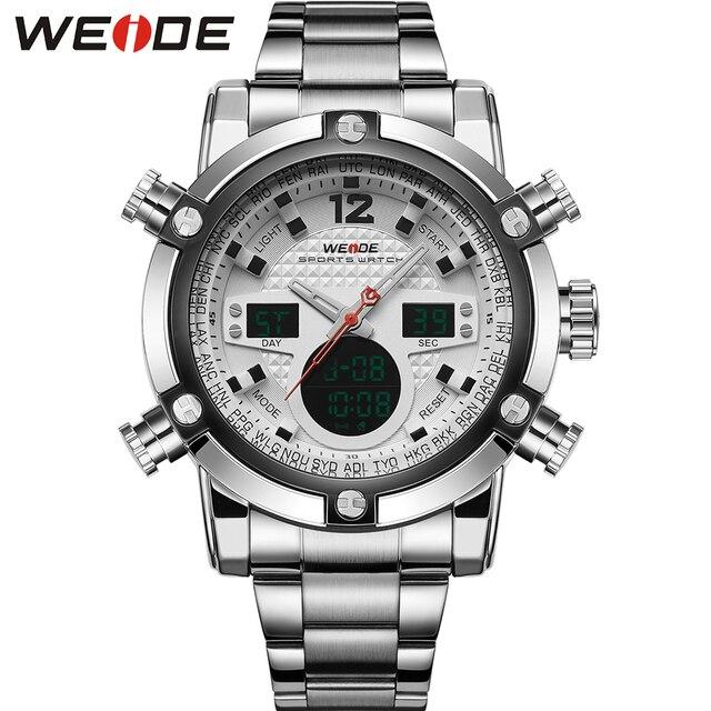 WEIDE Vestido de Plata de Acero Inoxidable Reloj de Los Hombres de Doble Huso Horario Pantalla 3 ATM Resistente Al Agua analógico Digital Fecha de Alarma Parada relojes