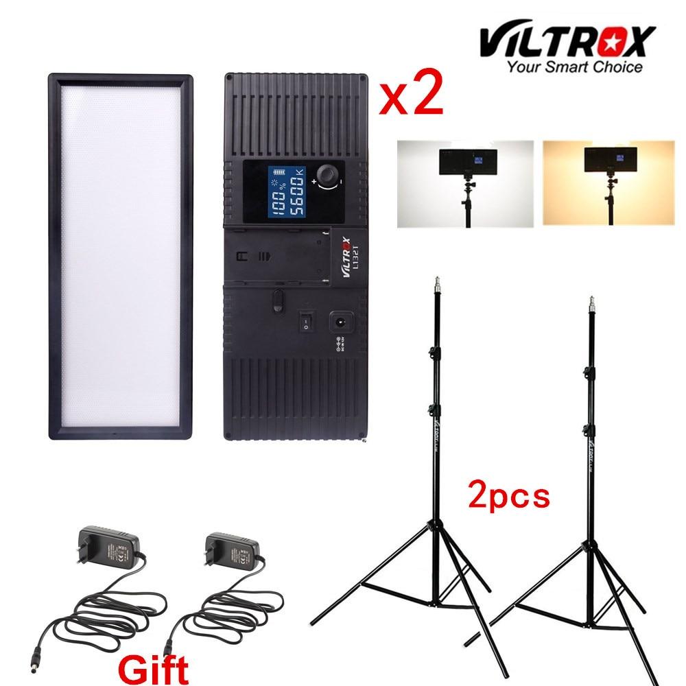 Viltrox L132T Bi-Colore Dimmerabile Luce Video LED x2 + 2x Luce basamento + 2x AC Adattatore per Fotocamera DSLR Studio di Illuminazione A LED Kit