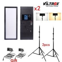 Viltrox L132T 이중 색상 디 밍이 가능한 LED 비디오 라이트 x2 + 2x 라이트 스탠드 + DSLR 카메라 스튜디오 용 2x AC 어댑터 LED 조명 키트