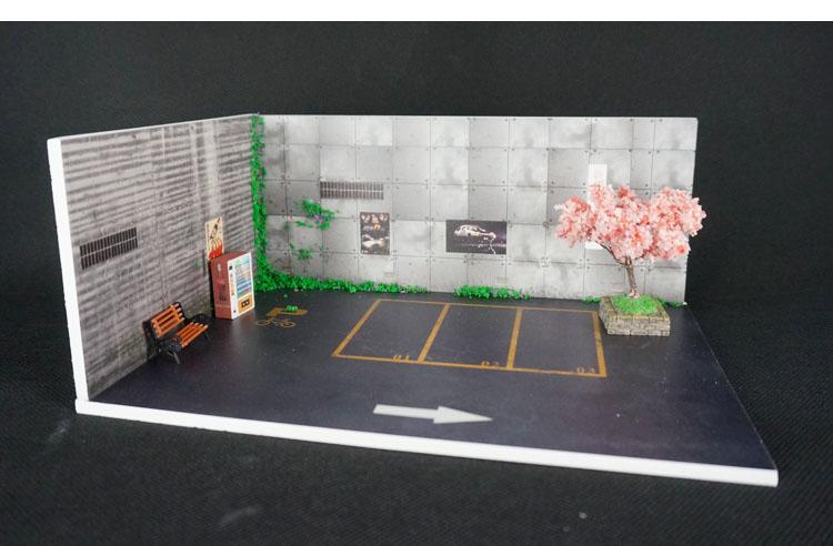 1/64 Parking Lot Scene Japanese Street  Model Car Garage Photo Prop Garage Parking Show