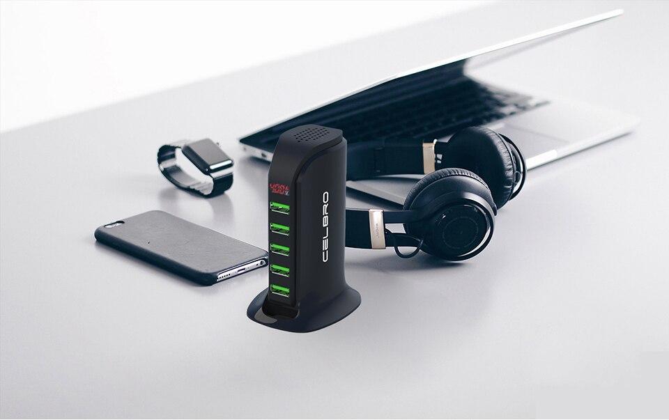 5 Port Multi USB Charger HUB LED Display USB Charging Station Dock Universal Mobile Phone Desktop Wall Home Chargers EU US Plug