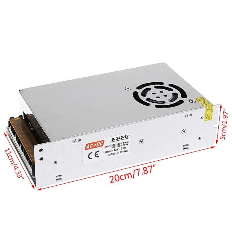 AC 100-220V To DC 12V 20A 240w Switch Power Supply Driver Adapter LED Strip Light  W315 best quality 12v 15a 180w switching power supply driver for led strip ac 100 240v input to dc 12v