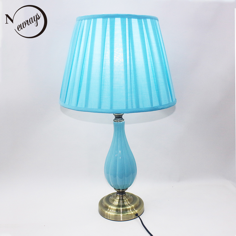 Modern unique fabric ceramic desk light e27 led 220v 2 styles table lamp for reading bedside home restaurant living room office