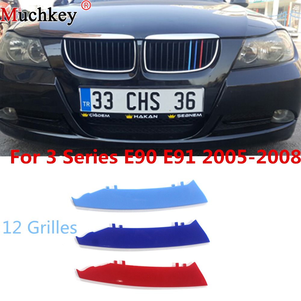 Car Front Grille Trim Strips Grill Cover Sticker For BMW 3 Series 2005 to 2008 E90 E91 320 325 330 335 12 Grilles 3D M Styling grille