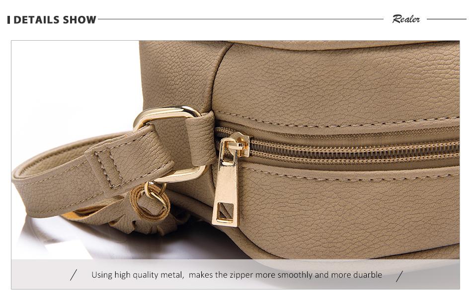 REALER brand small shoulder bag for women messenger bags ladies PU leather handbag purse tassels female crossbody bag women 2019 10