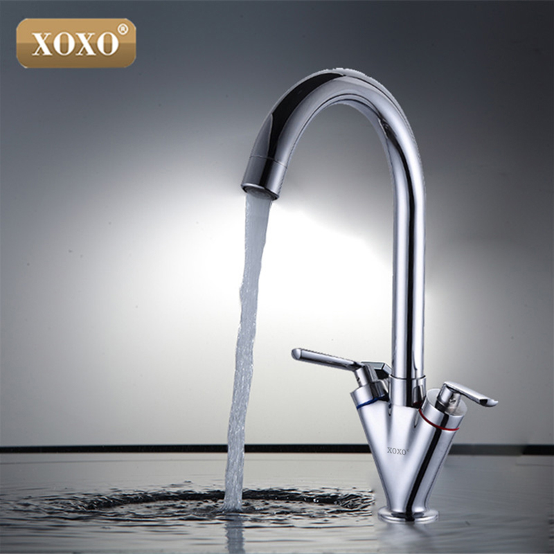 XOXO Hot sell Double handle kitchen sink tap kitchen mixer round swivel Kitchen Faucets 83032