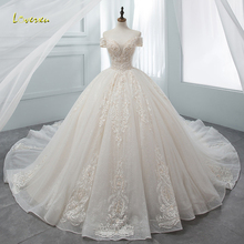 Ball-Gown Wedding-Dresses Beaded Chapel-Train Loverxu Sweetheart Lace Appliques Luxury