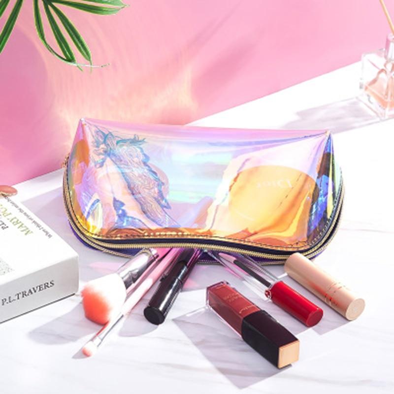Pochette Maquillage Makeup Pouch Maleta De Maquiagem Toiletry Make Up Bag Holographic Fenty Beauty Cosmetiquero Mujer Neon Purse