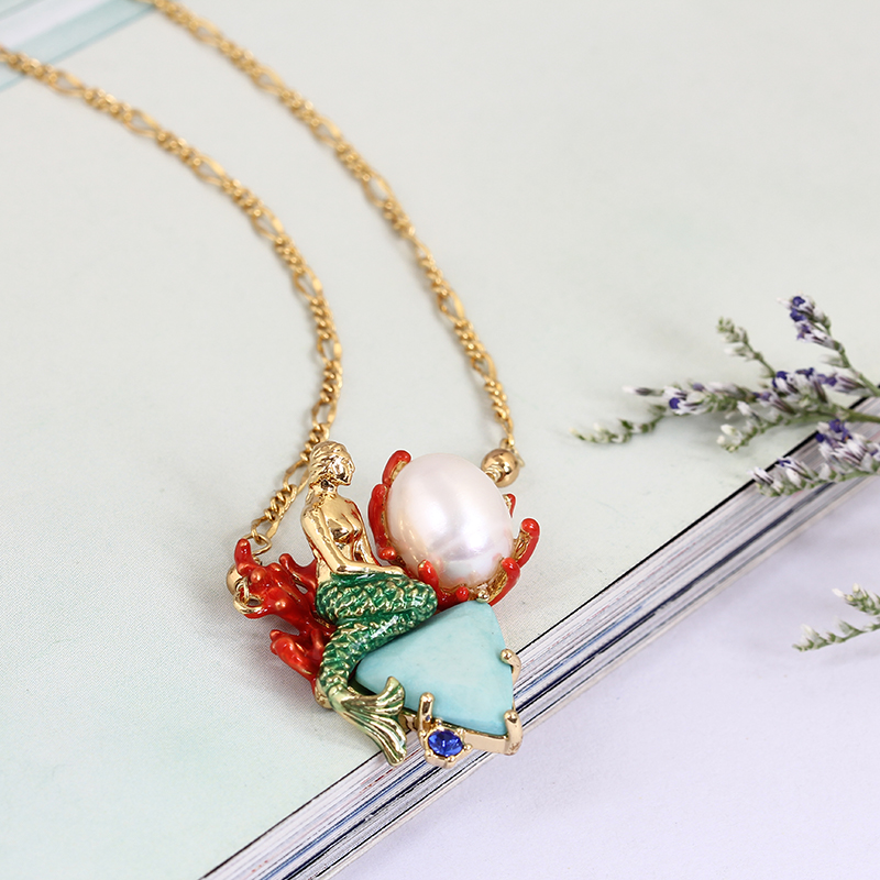 France Paris 2017 Fashion Jewelry Enamel Ocean Goddess Mermaid Natural Pearl Necklace Clavicle Chain Natural Stone Peal Choker pearl butterfly clavicle chain