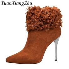 3dff8eae3 Moda inverno botas peludas mulheres sexy 11 cm Super salto alto do dedo do  pé apontado sapatos de festa mulher de inverno de pel.