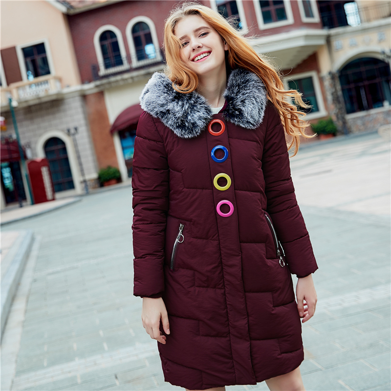 2017 Women's Winter Cotton Dots Jackets Slim Coat Stars Pattern Printed   Parka   Warm Long Jackets Hooded Overcoat Female   Parkas
