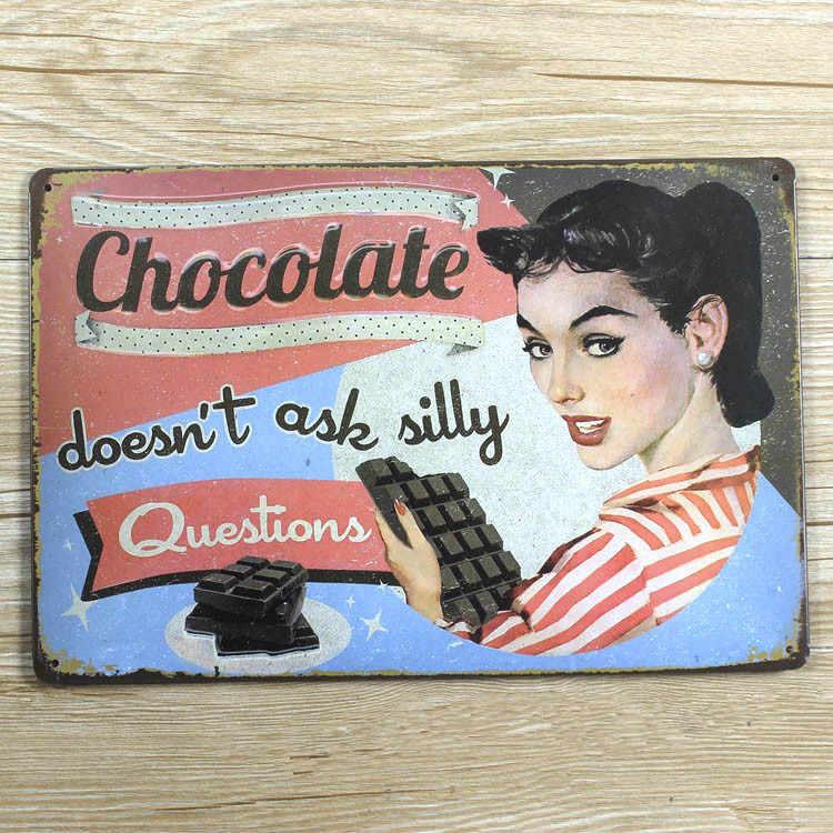 """جديد وصول """"الشوكولاته"""" علامات معدنية خمر البيت مطعم بار ويسكي المشارك المعادن اللوحة مزيج النظام 20*30 سم"""