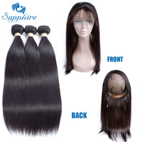 Sapphire Straight Remy Human Hair Bundles With 360 Lace Frontal Closure 1B Color For Hair Salon