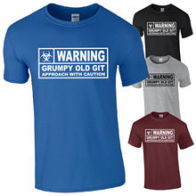 WARNING Grumpy Old Git T-Shirt - Caution Hazard Funny Fathers Day Gift Mens Top free shipping O-Neck Sunlight Men