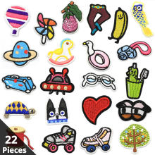 Lot Mini Heart Children Iron Patch on Clothes Stripe Embroidered Iron on Applique for Clothing Stickers on Garment Badges Sew On(China)