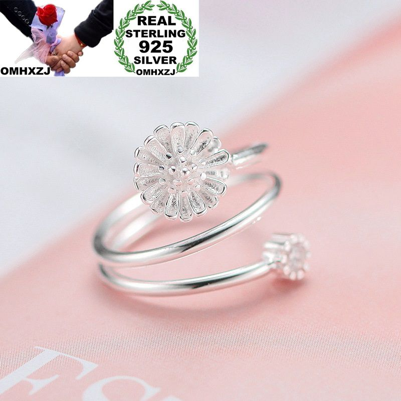 OMHXZJ Wholesale European Fashion Woman Girl Party Wedding Gift Silver Daisy AAA Zircon Open 925 Sterling Silver Ring RR259