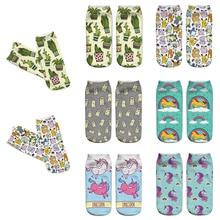 DeanFire Kawaii 3D Print Socks Women Ankle Cactus Unicorn Pokemon Funny Cotton Cute Short for women ladies