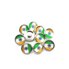 Hot selling 20pcs/lot 12mm Glass India national flag Snap Buttons Fit  DIY Bracelet Button Charms Jewelry