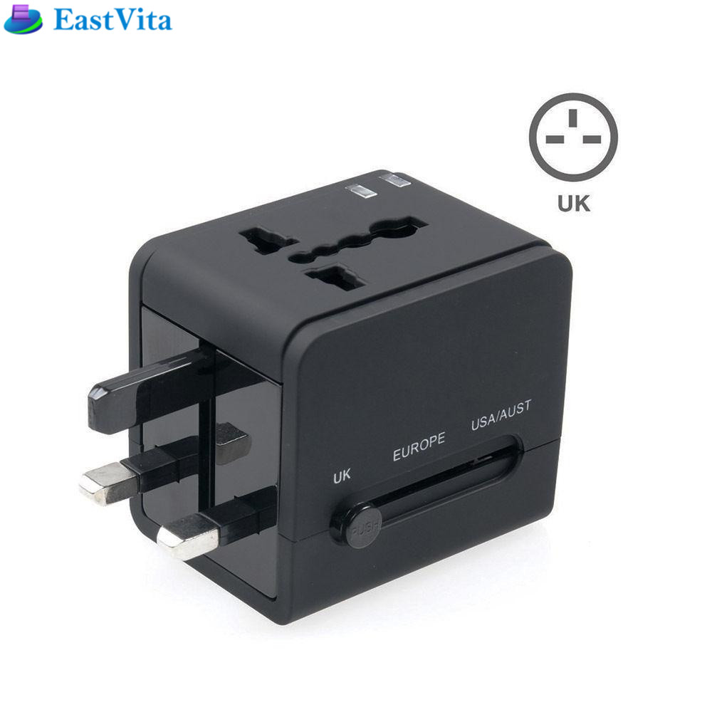 цена на EastVita Universal Travel AC Adapter Dual USB Charging Ports Wall Charger AC Power Plug Adapter Converters for EU UK US/AU r20
