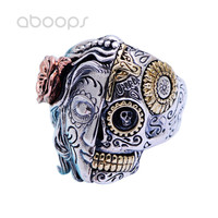 Three Tone Punk 925 Sterling Silver Angels and Demons Skull Ring Jewelry for Men Free Shipping
