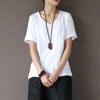 V yaka % 100% Pamuk Cep Katı Beyaz T Gömlek Kadın Nedensel Yaz T-Shirt Beyaz Ince Marka Kawaii Sevimli Tee Gömlek Femme A105 Tops