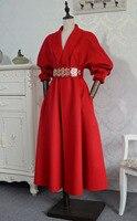 Арлин Саин пользовательские женщины атмосферные поставлена Ретро красивые длинные красные Двусторонняя бархат пальто Бесплатная доставк