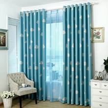 Cloud Curtain for Kid Baby Room Window Bedroom Print Voile Cartoon Sheer Fabrics Drapes Blue Modern Living Room(China)