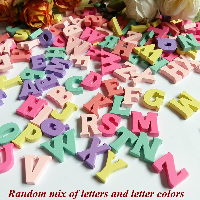 Randomly Mix 60pcs/Pack DIY English Letters Wedding Wall Decor Wooden Letters Number Wood Bead Crafts Frame Home decoration