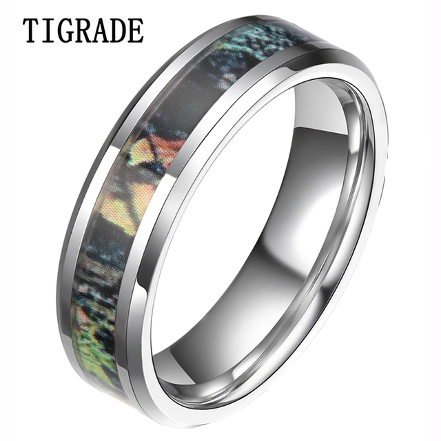 Tigrade 6mm 8mm Camouflage Tungsten Ring Camo Summer Tree Leaves Men S Hunting Wedding Band Fashion Jewelry