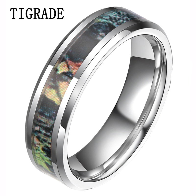 tigrade 6mm 8mm camouflage tungsten ring camo summer tree leaves mens hunting wedding band fashion jewelry - Wedding Rings Camo